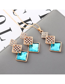 Fashion Sea Blue Geometric Square Diamond Earrings Necklace Set  Alloy