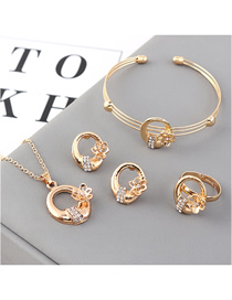 Fashion Gold Small Flower Diamond Earrings Necklace Ring Bracelet Set