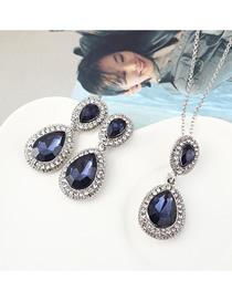 Fashion Silver Water Drop Diamond Earrings Necklace Set  Alloy