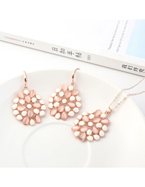 Fashion Gold Large Round Diamond Earrings Necklace Set  Alloy