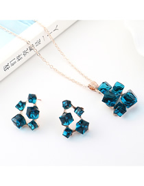 Fashion Gold Square Crystal Earrings Necklace Set  Alloy