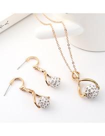 Conjunto De Collar De Aretes De Diamantes Pequeños Y Redondos