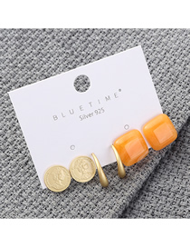 Fashion Orange Plated Gold Seal Square S925 Silver Needle Earrings