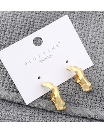 Fashion Dumb Gold Plated Gold Cutout S925 Silver Needle Earrings