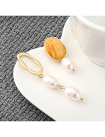 Fashion Orange Plated Gold Asymmetric Pearl S925 Silver Needle Earrings