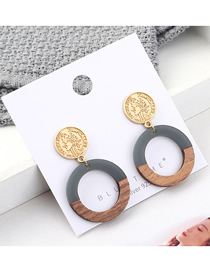 Fashion Gray Plated Gold Seal Circle Hollow S925 Silver Needle Earrings