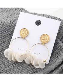 Fashion Gold Plated Gold Seal Circle Hollow S925 Silver Needle Earrings