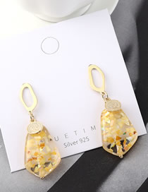 Fashion Gold Plated Gold Seal Head S925 Silver Needle Earrings