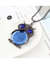 Fashion Gun Black + Blue Owl With Diamond Necklace