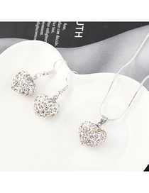 Fashion Silver Heart-studded Necklace Earring Set