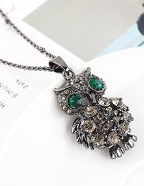 Fashion Gun Black + Green Owl Diamond Cutout Necklace