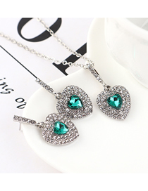 Fashion Green Heart-studded Necklace Earring Set
