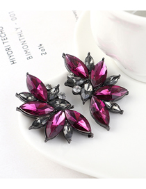 Fashion Purple Half Flower And Diamond Earrings