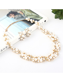 Fashion Gold Diamond Pearl Necklace Earring Set
