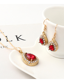 Fashion Red Diamond Heart Necklace Earring Set