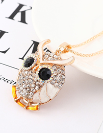 Fashion White Diamond Owl Head Necklace