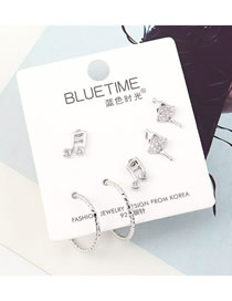 Fashion Silver Plated Gold Yuet Musical Notes Dancer S925 Silver Needle Earring Set