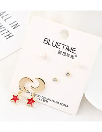 Fashion Gold Plated Gold Star Moon Pearl S925 Silver Needle Earrings Set
