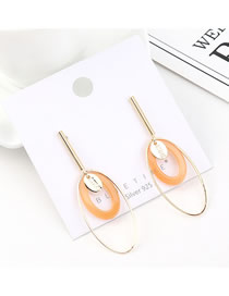 Fashion (orange) Plated Gold Circle Cutout S925 Silver Needle Earrings