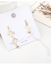 Fashion Gold Plated Gold Asymmetrical Small Butterfly S925 Silver Needle Earrings