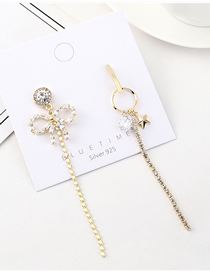 Fashion Gold Plated Gold Fringed Bow Small Five Star S925 Silver Needle Earrings