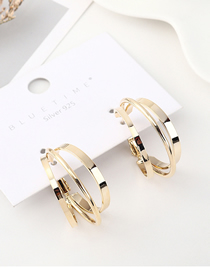 Fashion Gold Plated Gold Three-ring Hollow S925 Silver Needle Earrings