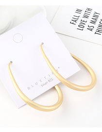 Fashion Gold Plated Gold Oval Large Hollow S925 Silver Needle Earrings