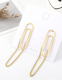 Fashion Gold Plated Gold-shaped Back S925 Silver Needle Earrings