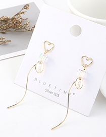 Fashion Golden Real Gold-plated Fringed Careful Crystal Glass S925 Silver Pin Earrings