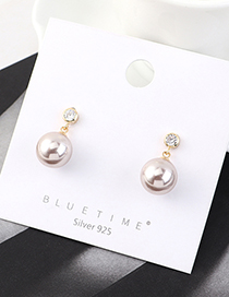 Fashion Golden Real Gold Plated Pearl Ball S925 Silver Pin Earrings