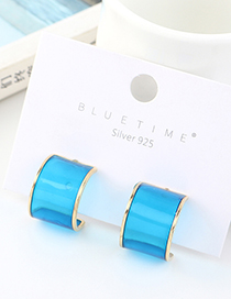 Fashion Blue Real Gold Plated Semi-circular S925 Silver Pin Earrings