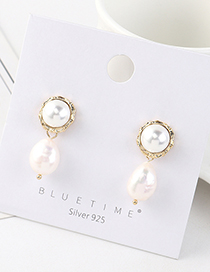 Fashion Golden Real Gold-plated Pearl S925 Silver Pin Earrings