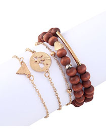 Fashion Brown Love Wooden Beads Triangle Bracelet Set