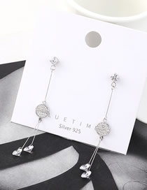 Fashion Platinum Small Fan With Tassel And Diamonds Earrings