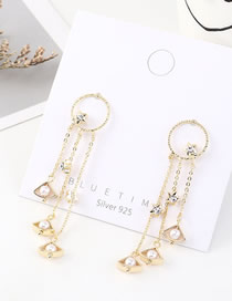 Fashion 14k Gold Star Pearl Tassel Round Earrings