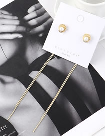 Fashion 14k Gold Fringed Shell Pearl Earrings