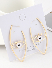 Fashion Golden Eyelash Eye Acrylic Cutout Earrings
