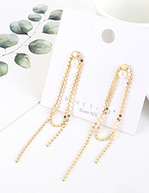 Fashion Golden Gold-plated Long Fringed Pearl Earrings