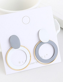 Fashion White + Grey Gold-plated Circle Cutout Contrast Earrings