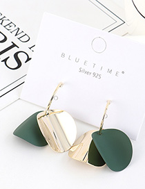 Fashion Green Gold-plated Frosted Irregular Geometric Earrings