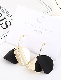 Fashion Black Gold-plated Frosted Irregular Geometric Earrings