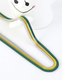 Fashion White + Yellow + Green Snake Chain Contrast Color Stitching Solid Sweater Chain
