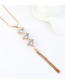 Cadena De Suéter Con Flecos Y Corte Geométrico Con Diamantes
