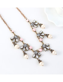 Fashion Bronze Pearl And Geometric Tassel Necklace With Diamonds
