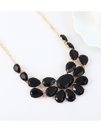 Fashion Black Faceted Resin Geometric Necklace
