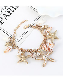 Fashion Golden Pearl Conch Starfish Bracelet