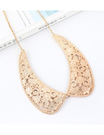 Fashion Champagne Gold Classical Collar Embossed Openwork Necklace
