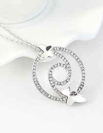 Fashion White Diamond And Butterfly Double Cutout Geometric Necklace