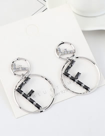 Fashion Platinum S925 Silver Pin Large Gold Plated Diamond Earrings