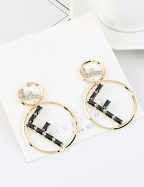 Fashion 14k Gold  Silver Pin Large Gold Plated Diamond Earrings